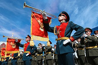 Military Band Service of the Armed Forces of Russia - A chromatic fanfare trumpeter of the 3rd Battalion, 154th Preobrazhensky Independent Commandant's Regiment participating in a parade on Red Square.