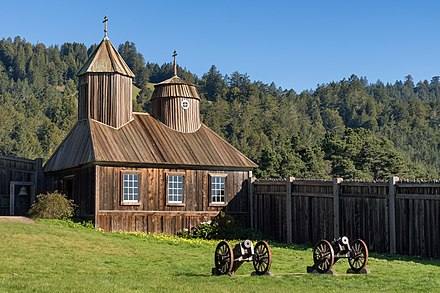 Fort Ross, reconstruction of an early-19th-century outpost of the Russian-American Company in Sonoma County, California Russian chapel at Fort Ross (2016).jpg
