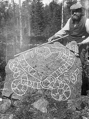 Södermanland Runic Inscription 235 - Photograph of Sö 235 in 1900.