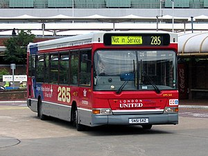 London Buses route 285 - London United Plaxton Pointer bodied Dennis Dart at Heathrow Central bus station with route 285 branding in June 2004