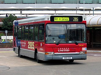 London United Busways - Plaxton Pointer bodied Dennis Dart with route 285 branding at Heathrow Airport in June 2004
