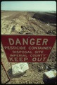 SPECIAL PRECAUTIONS MUST BE TAKEN FOR DISPOSING OF HAZARDOUS MATERIALS. AS IN THIS AREA NEAR EL CENTRO IN THE... - NARA - 553905.tif