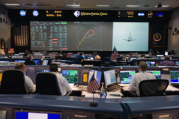 English: Flight controllers in the space shutt...