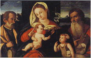 Holy family with Saint Jerome