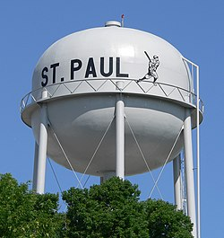 St. Paul water tower, with image of baseball player