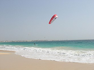 Sports in Sal, Cape Verde - Windsurfing at Santa Maria Beach (Praia de Santa Maria), Sal being the commonplace of the sport today in Cape Verde