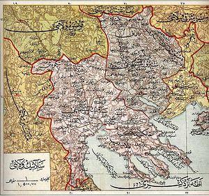 Sanjak of Siroz - 1907 Ottoman map of the Salonica Vilayet, with the sanjaks of Salonica, Siroz and Drama