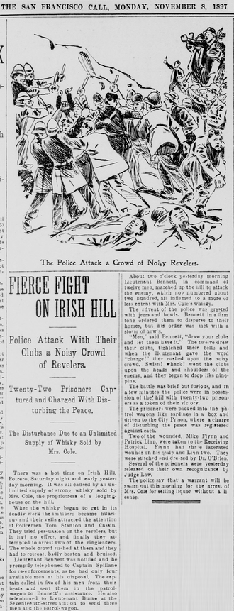 Irish Hill (San Francisco) - Fierce Fight on Irish Hill San Francisco Call, November 8, 1897.
