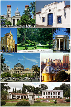 From top, left to right: San Miguel de Tucumán Cathedral, Historical House of Independence, Basilica of San Francisco, Ninth of July Park, National University of Tucumán, Tucumán Government Palace, view of Barrio Norte and the house of Bishop Colombres.