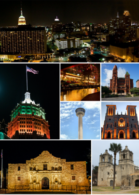 Top to bottom, left to right: Downtown San Antonio, Tower Life Building, San Antonio Riverwalk, Bexar County Courthouse, Tower of the Americas, Cathedral of San Fernando, The Alamo, Mission Concepcion