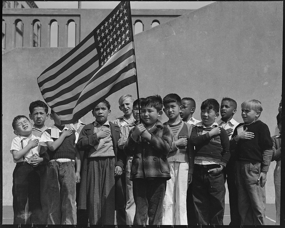 San Francisco, California. Flag of allegiance pledge at Raphael Weill Public School, Geary and Buch . . . - NARA - 536053