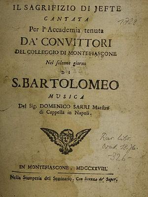 L'impresario delle Isole Canarie - Sarro – Il sagrifizio di Jefte – title page