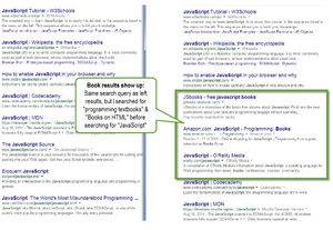 Google Personalized Search - Google Personalized Search showing different results based upon previous search text.