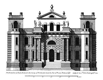 Seaton Delaval Hall - Central block drawn before completion, as Vanbrugh envisaged the house. The statues on the pediments were never executed. Engraving by Colen Campbell, from his Vitruvius Britannicus.