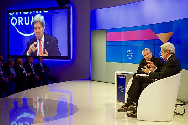 Secretary Kerry Speaks With New York Times Columnist Friedman at the World Economic Forum in Davos (32329933916).jpg