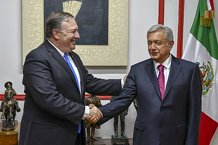 Lopez Obrador with US Secretary of State Mike Pompeo in July 2018 Secretary Pompeo Meets With Mexican President- Elect Lopez Obrador (42488751605).jpg