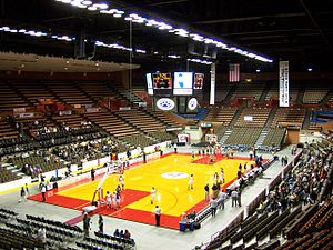 Selland Arena - Interior view of Selland Arena during the 2009 California Interscholastic Federation Central Section basketball tournament. Photo features the new scoreboard and new seats installed during renovation.