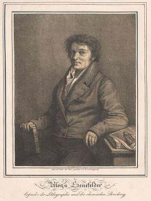 Aloys Senefelder, gezeichnet von Lorenzo Quaglio dem Jüngeren (1818) (Quelle: Wikimedia)