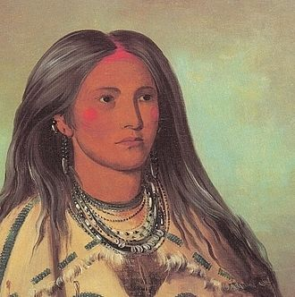Mandan - Portrait of Sha-kó-ka, a Mandan girl, by George Catlin, 1832