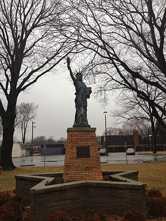 Shawnee Mission North High School - Replica of the Statue of Liberty on the north side of campus, 2012.