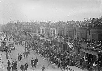 Swampoodle, Philadelphia - Rooftop bleachers overlooking Shibe Park (Connie Mack) Stadium in Philadelphia's Swampoodle Neighborhood, circa 1913.