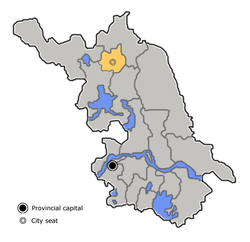 Location of Shuyang (yellow) in Jiangsu