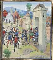 A colourful contemporary image of a Medieval town under assault