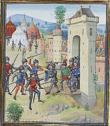 a colourful medieval image of a town under attack