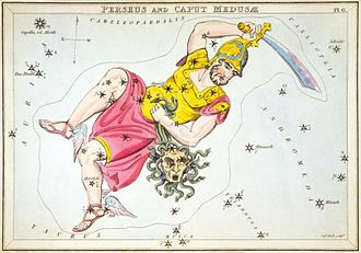 Perseus (constellation) - Perseus carrying the head of Medusa the Gorgon, as depicted in Urania's Mirror, a set of constellation cards published in London c.1825