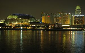 Future developments in Singapore - View of Marina Centre at night.