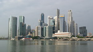 A picture of the Singapore Skyline, early in t...