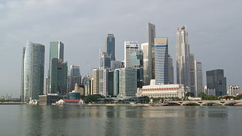 English: A picture of the Singapore Skyline, e...
