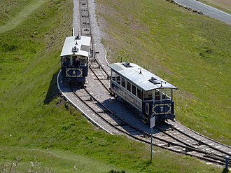 Hurst Nelson - Two of the surviving original Hurst Nelson tramcars on the Great Orme Tramway, north Wales.