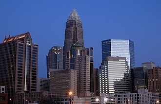 Demographics of North Carolina - Image: Skyline of Charlotte, North Carolina by dusk (31 January 2007)