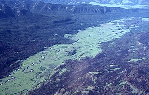 Slough Creek (Wyoming) - Aerial view of Slough Creek in 1989