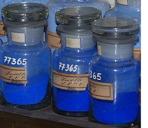 Cobalt glass -  Smalt, historical dye collection of the Technical University of Dresden, Germany