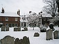 "Snow in the churchyard looking towards ""The Robin Hood"" - geograph.org.uk - 754124.jpg"