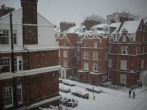 South Kensington - Evening snow at Evelyn Gardens, South Kensington in 2010.