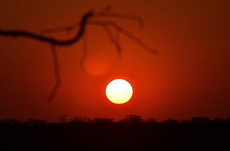 Sunset - Solar disk just before sunset in Namibia