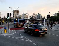 Somolos square Bus station in Nicosia Republic of Cyprus during evening.jpg