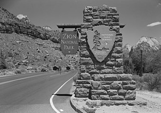 Historical buildings and structures of Zion National Park - South Entrance Sign
