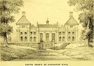 Soughton Hall - The South front of Soughton Hall circa 1820