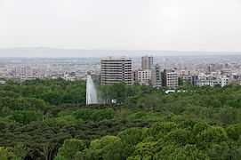 South View Laleh Intl Hotel from Southern Tehran Skyline Over Laleh Park.jpg