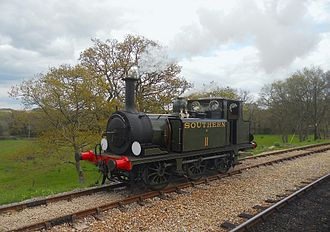 Isle of Wight Steam Railway - Southern Railway 0-6-0T Class A1X W11 'Newport' runs round the train at Wootton Station