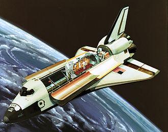 Spacelab - Spacelab art, with lab interior cutaway, 1981