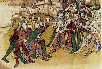 Swiss degen - Image: Spiezer Chronik Hasle 1334 detail