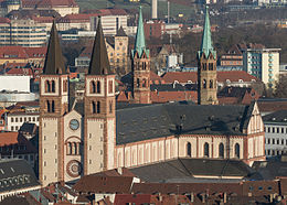 St. Killian, Würzburger Dom, as seen from Festung Marienburg 20140112 2.jpg