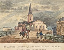 An old hand-coloured print of St. James' Church seen from the east. A dirt road, along which two men are riding, leads towards it. There are few other buildings.
