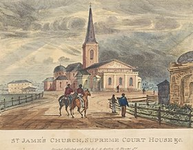 An old print. The church and law-court building stand at the top of a slight rise with only a couple of other small buildings in view. There is a wide dirt road along which two people approach the church on horseback and two on foot.