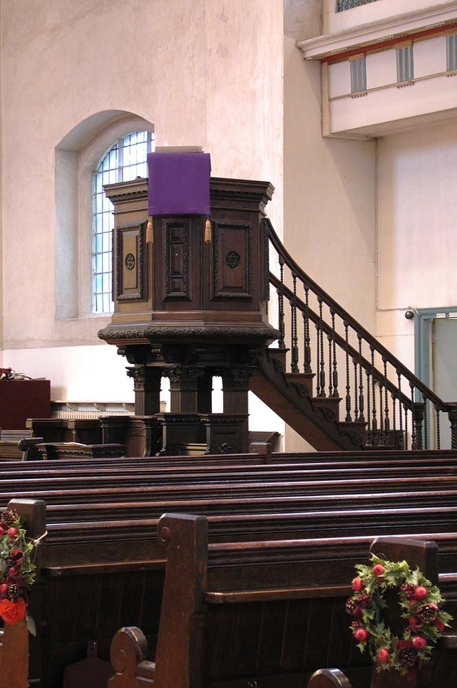 St John at Hackney, Lower Clapton Road, London E8 - Pulpit - geograph.org.uk - 1678973